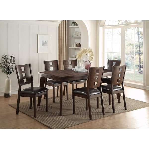 Featured Photo of Caira 7 Piece Rectangular Dining Sets With Upholstered Side Chairs