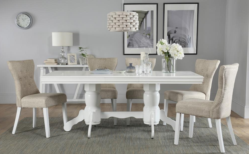 Best And Newest Chatsworth White Extending Dining Table With 6 Bewley Oatmeal Chairs Pertaining To White Extendable Dining Tables And Chairs (View 20 of 20)