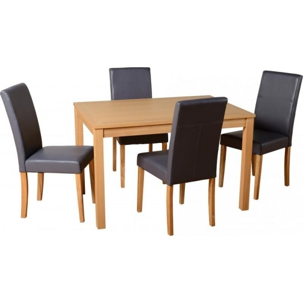 Best And Newest Cheap Dining Tables Regarding Cheap Seconique Oakmere Small Oak Dining Table Set & 4 Charcoal (View 4 of 20)