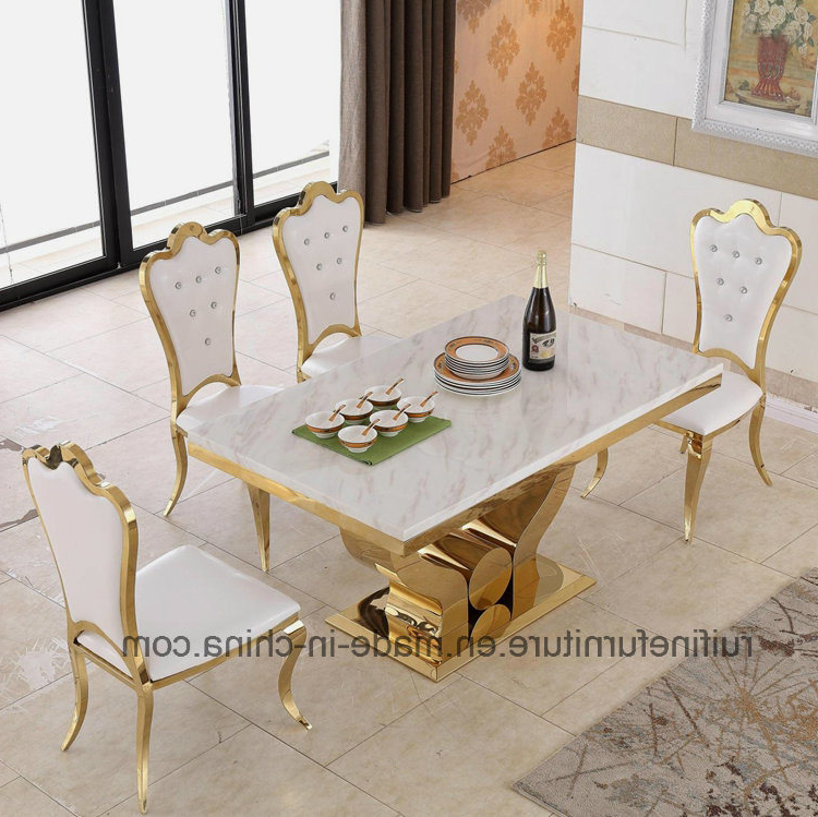Best And Newest China Modern Dining Room Furniture Stainless Steel Gold Marble For Marble Dining Tables Sets (View 4 of 20)