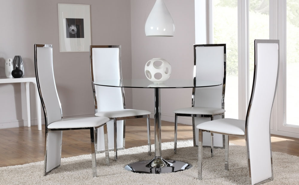 Best And Newest Chrome Dining Room Chairs Throughout Orbit & Celeste Round Glass & Chrome Dining Room Table And 4 Chairs (Gallery 1 of 20)