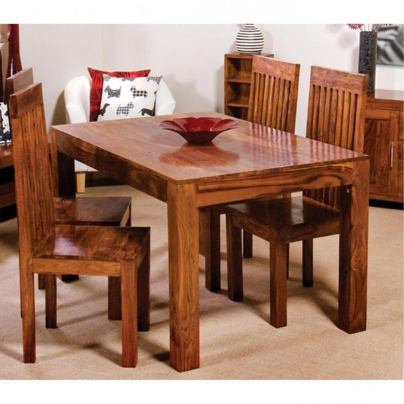 Best And Newest Cube Wooden Dining Table Set 4 Seater  Wooden Dining Table Online For Cube Dining Tables (View 2 of 20)