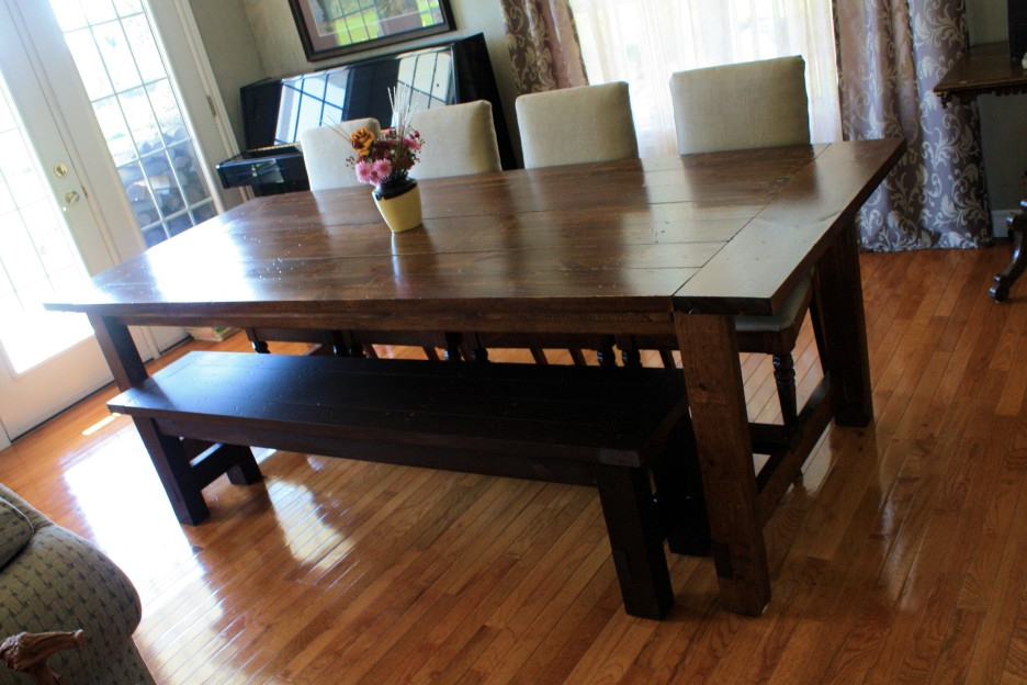 Best And Newest Dark Brown Wood Dining Tables In Dark Brown Stained Oak Wood Dining Table With Black Bench Combined (View 10 of 20)