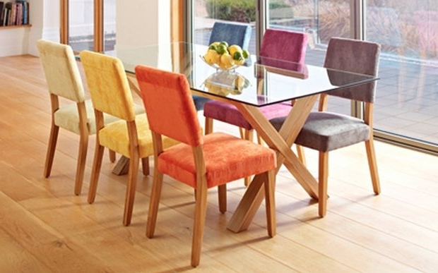 Best And Newest Different Coloured Dining Chairsa Oak And Glass Dining Table Pertaining To Colourful Dining Tables And Chairs (Gallery 3 of 20)
