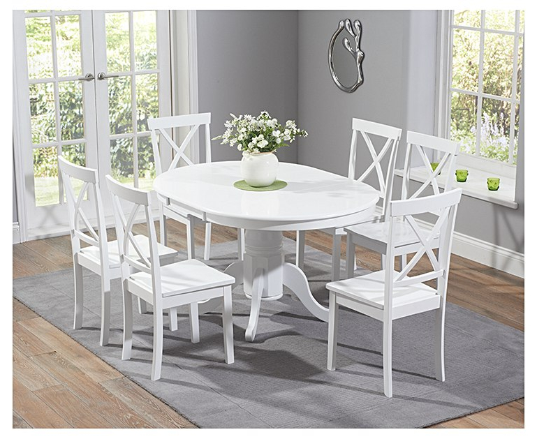 Best And Newest Epsom White Pedestal Extending Dining Table Set With Chairs Within White Oval Extending Dining Tables (View 5 of 20)