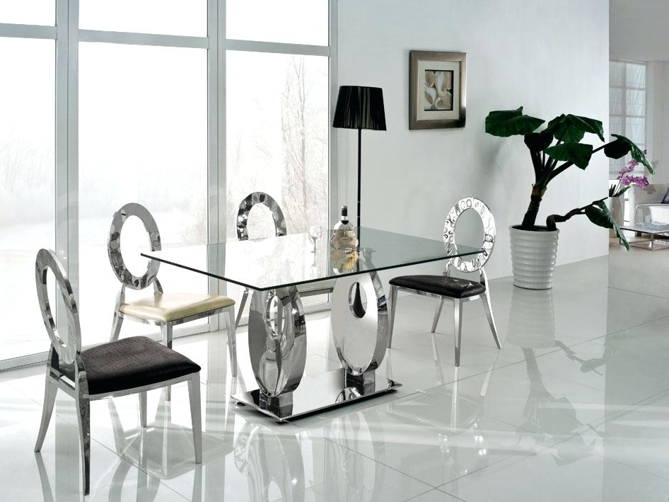 Best And Newest Glass Dining Tables And Chairs Intended For Contemporary Dining Room Table Sets Black And White Dining Table (View 5 of 20)