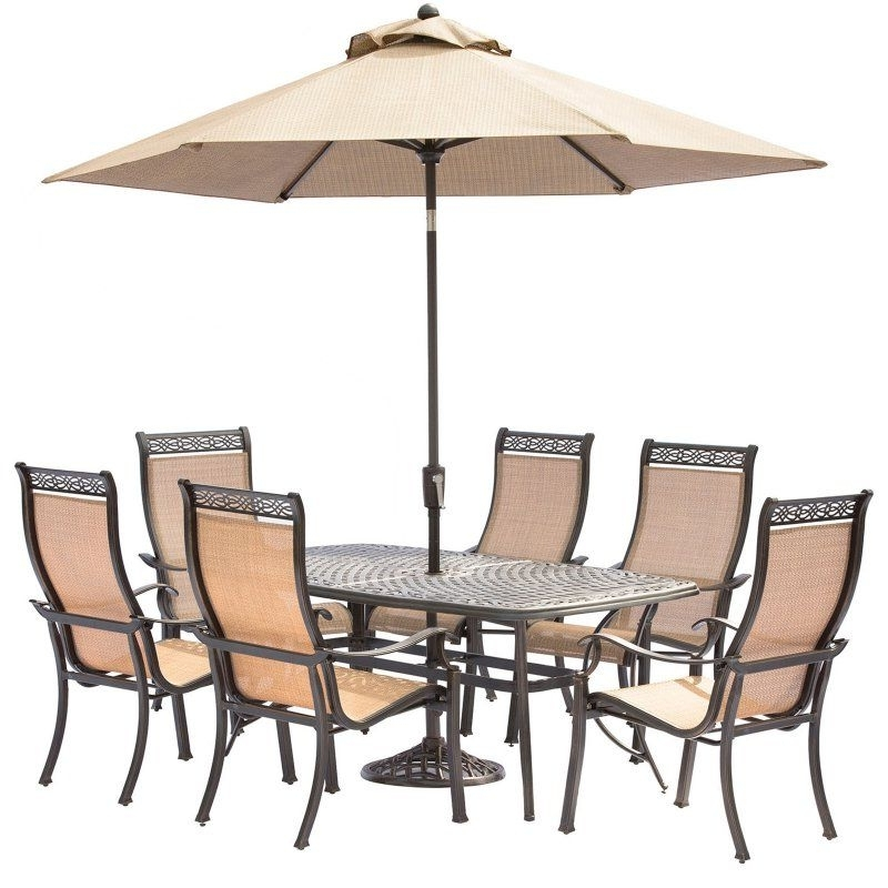 Best And Newest Hanover Manor Aluminum Rectangular 7 Piece Patio Dining Set With With Chapleau Ii 7 Piece Extension Dining Tables With Side Chairs (View 1 of 20)