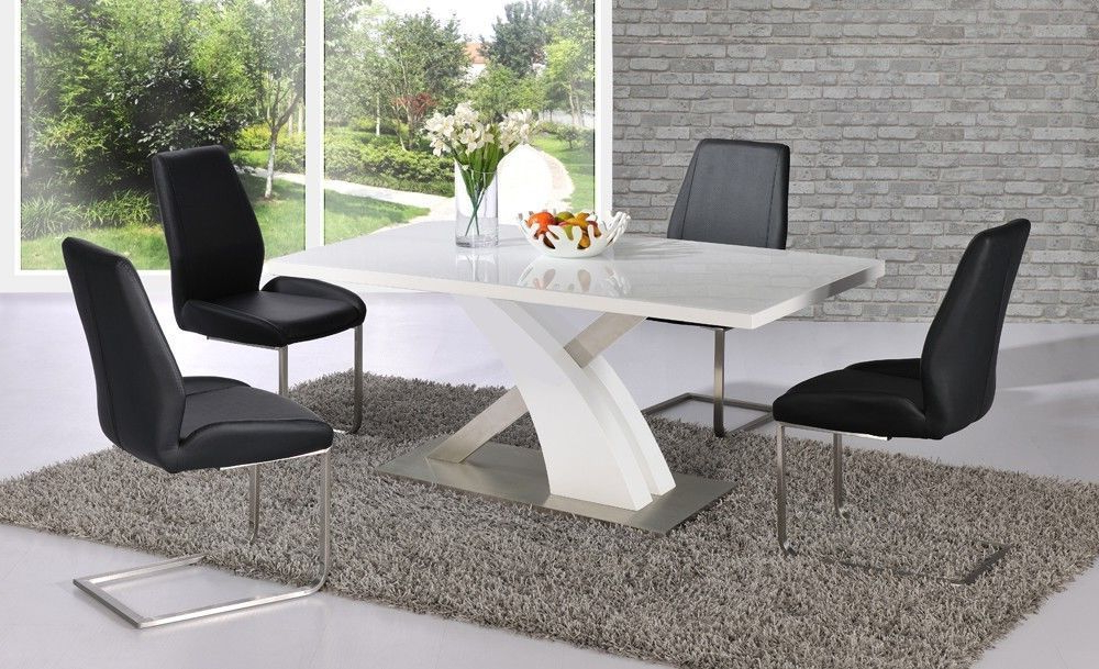 Best And Newest High Gloss Dining Tables Sets For White High Gloss Dining Table Set And 6 Black Chairs – Homegenies (Gallery 17 of 20)