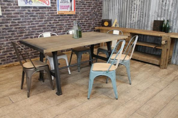 Best And Newest Industrial Style Table With Cast Iron Base Regarding Industrial Style Dining Tables (View 15 of 20)