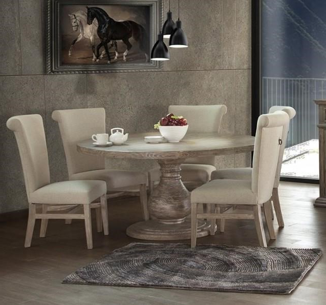 Best And Newest International Furniture Direct Valencia Table&6 Round Pedestal Intended For Valencia 5 Piece Round Dining Sets With Uph Seat Side Chairs (View 3 of 20)