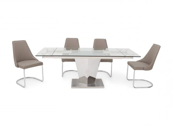Best And Newest Isabella Extending Clear Glass Dining Table With 6 Mya Chairs Regarding Isabella Dining Tables (View 1 of 20)