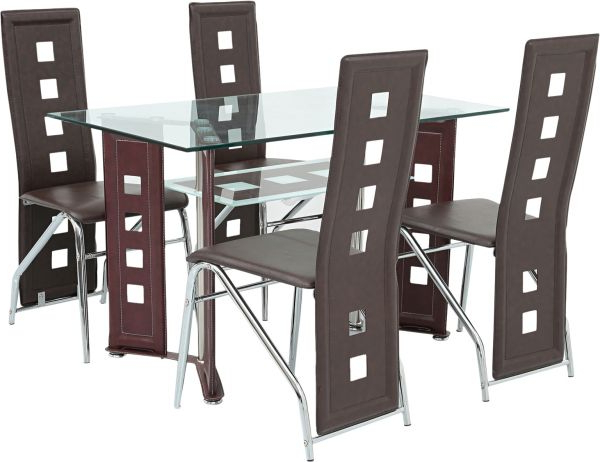 Best And Newest Mahogany Dining Tables And 4 Chairs With Regard To Aft 4 Seater Glass Dining Table With Chairs, Mahogany – Aftd4G (View 2 of 20)