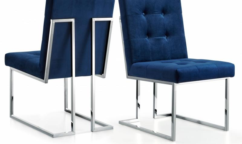 Best And Newest Meridian Furniture Alexis Modern Navy Velvet Chrome Legs Dining Intended For Ebay Dining Chairs (View 15 of 20)