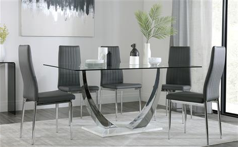 Best And Newest Modern Dining Tables And Chairs Intended For Peake Glass And Chrome Dining Table (White Gloss Base) With 4 Renzo (Gallery 9 of 20)