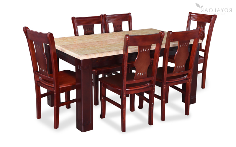 Best And Newest Oak 6 Seater Dining Tables For Buy Royaloak Lido 6 Seater Dining Set With Art Marble Table Top (Gallery 12 of 20)
