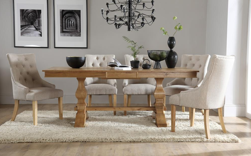 Best And Newest Oak Extending Dining Tables And 8 Chairs Regarding Cavendish Oak Extending Dining Table With 8 Duke Oatmeal Chairs Only (View 2 of 20)