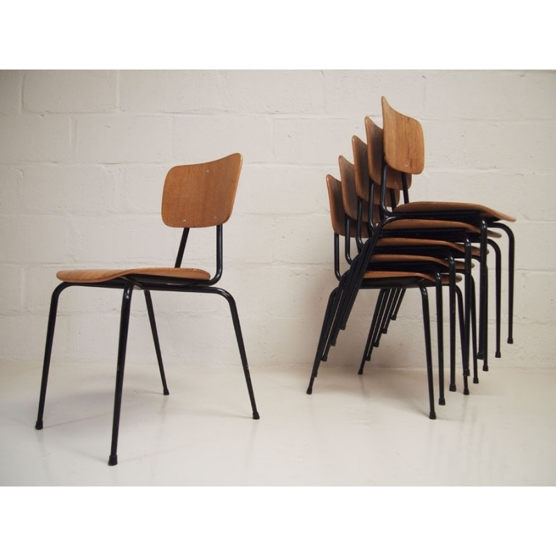 Best And Newest Plywood & Metal Brown Dining Chairs With Vintage Set Of 6 Ply And Steel Stacking Dining Chairsniels (View 3 of 20)