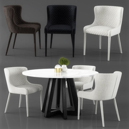 Best And Newest Quilted Black Dining Chairs Regarding Saxon Quilted Dining Chair 3D (View 1 of 20)