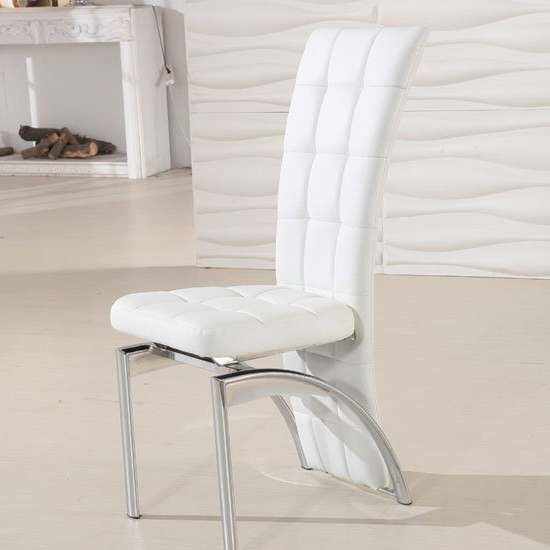 Best And Newest Ravenna White Faux Leather Dining Room Chair 19495 For White Dining Chairs (Gallery 10 of 20)