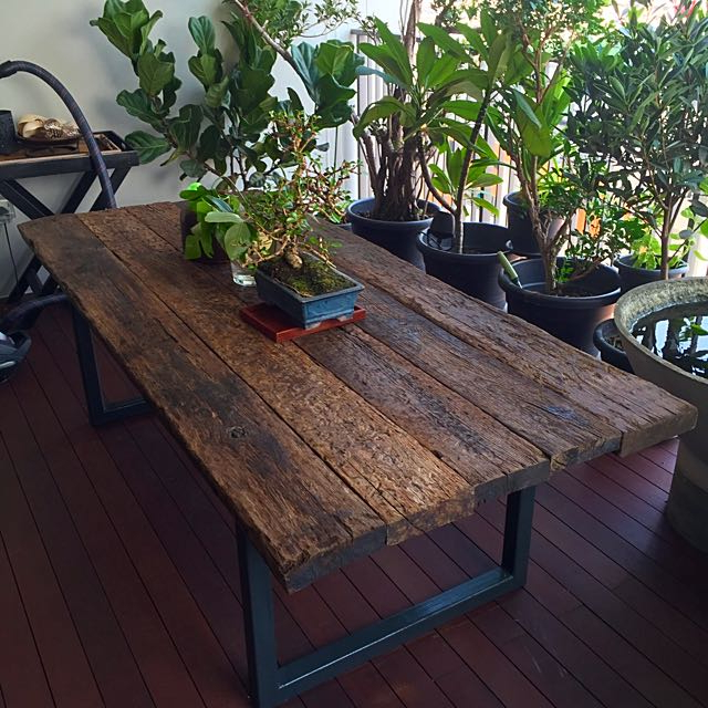 Best And Newest Reclaimed Railway Sleeper Wood Dining Table, Furniture On Carousell With Regard To Railway Dining Tables (View 7 of 20)