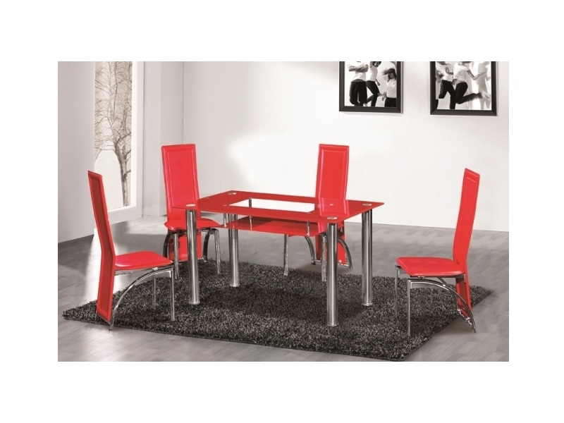 Best And Newest Red Dining Tables And Chairs Pertaining To Red Glass Dining Table 6 Seater – Homegenies (View 5 of 20)
