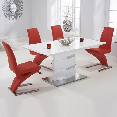 Best And Newest Red Gloss Dining Tables Within Stenson High Gloss White Dining Table With 6 Harvey Red Chairs (View 6 of 20)