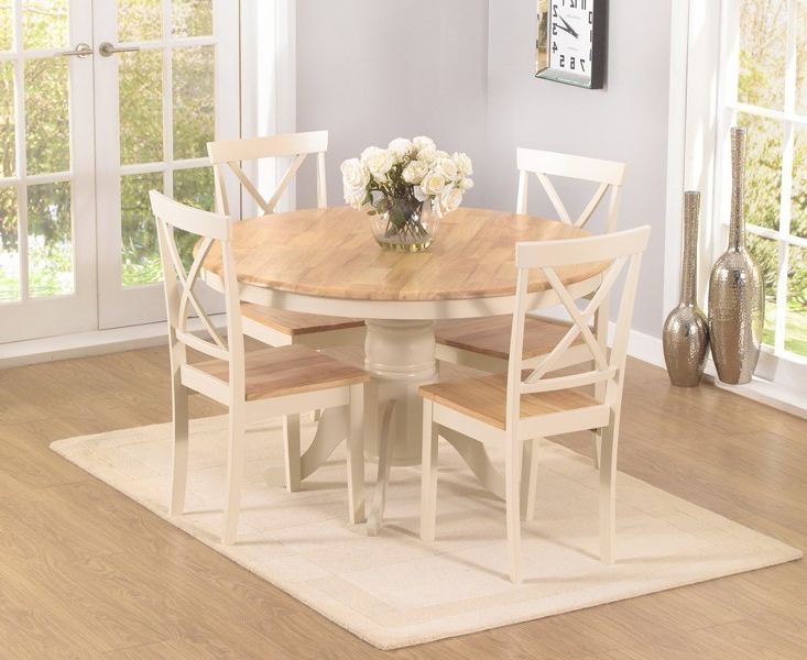 Best And Newest Round Oak Dining Tables And 4 Chairs In Elstree 120cm Oak And Cream Round Dining Table + 4 Chairs – Swagger Inc (View 2 of 20)