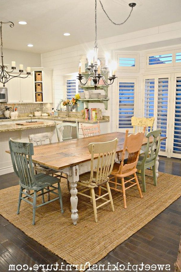Best And Newest Shabby Chic Table And Mismatched Chairs Dining Room (View 4 of 20)