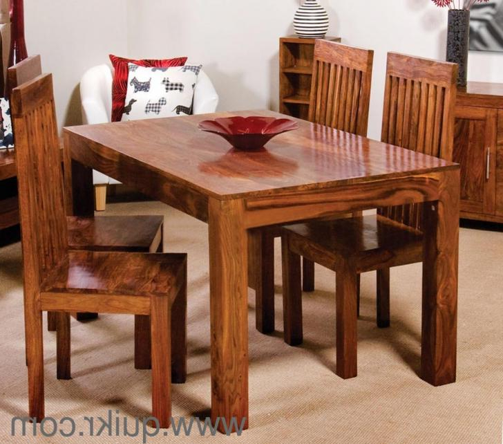 Best And Newest Sheesham Wood Dining Tables Throughout 4 Seater Brand New Solid Sheesham Wood Dining Table Set For Sale (View 11 of 20)