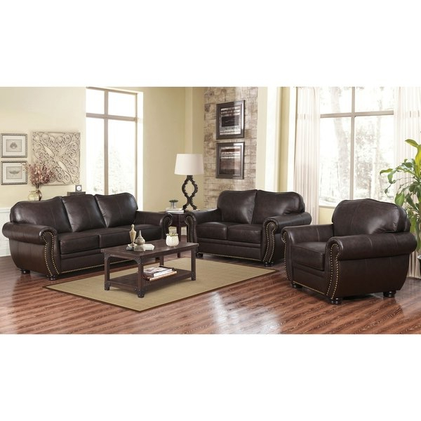 Best And Newest Shop Abbyson Richfield Top Grain Leather Living Room Sofa Set – On Throughout Palazzo 3 Piece Dining Table Sets (View 5 of 20)