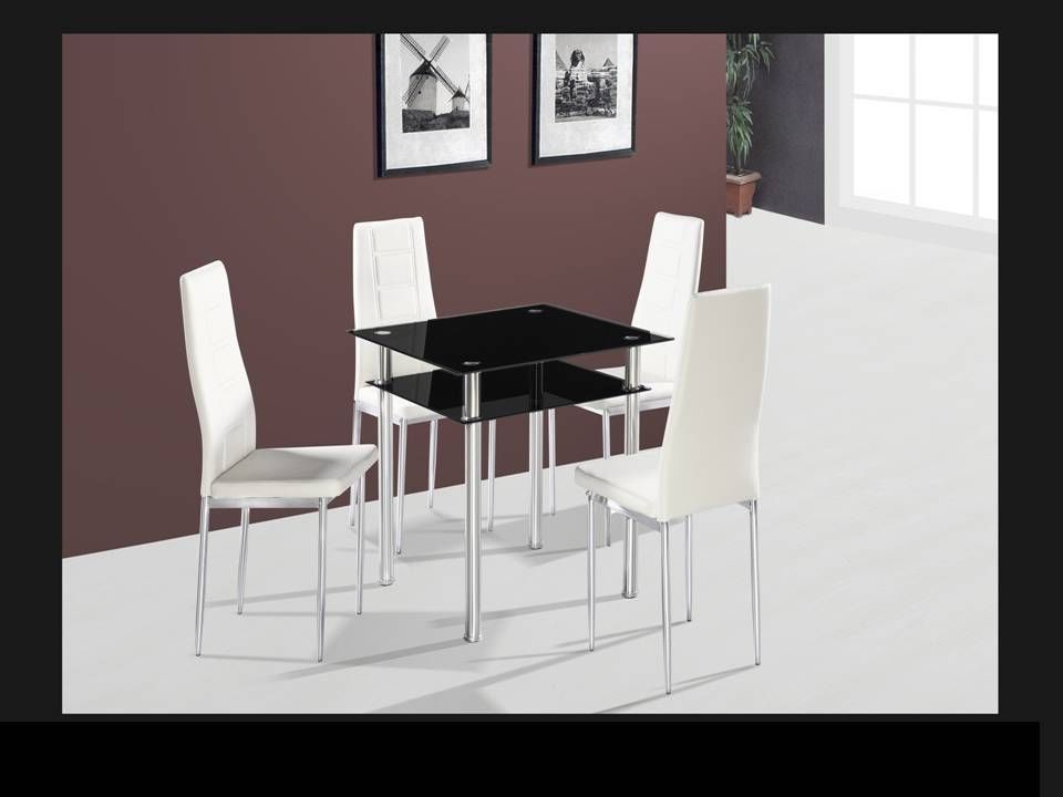 Best And Newest Square Black Glass Dining Table And 4 Chairs – Homegenies Inside Square Black Glass Dining Tables (View 20 of 20)