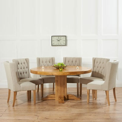 Best And Newest Trina Solid Oak Round Dining Table With 6 Sophia Beige Chairs Pertaining To Oak Round Dining Tables And Chairs (View 4 of 20)