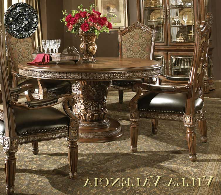 Best And Newest Valencia 5 Piece Round Dining Sets With Uph Seat Side Chairs Inside Villa Valencia Round Table Diningaico (View 18 of 20)