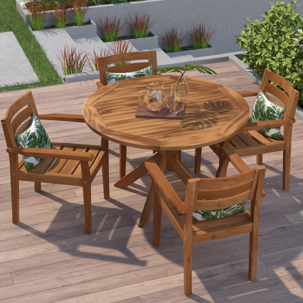 Best And Newest Valencia 5 Piece Round Dining Sets With Uph Seat Side Chairs Intended For Swanson Wood 5 Piece (View 5 of 20)