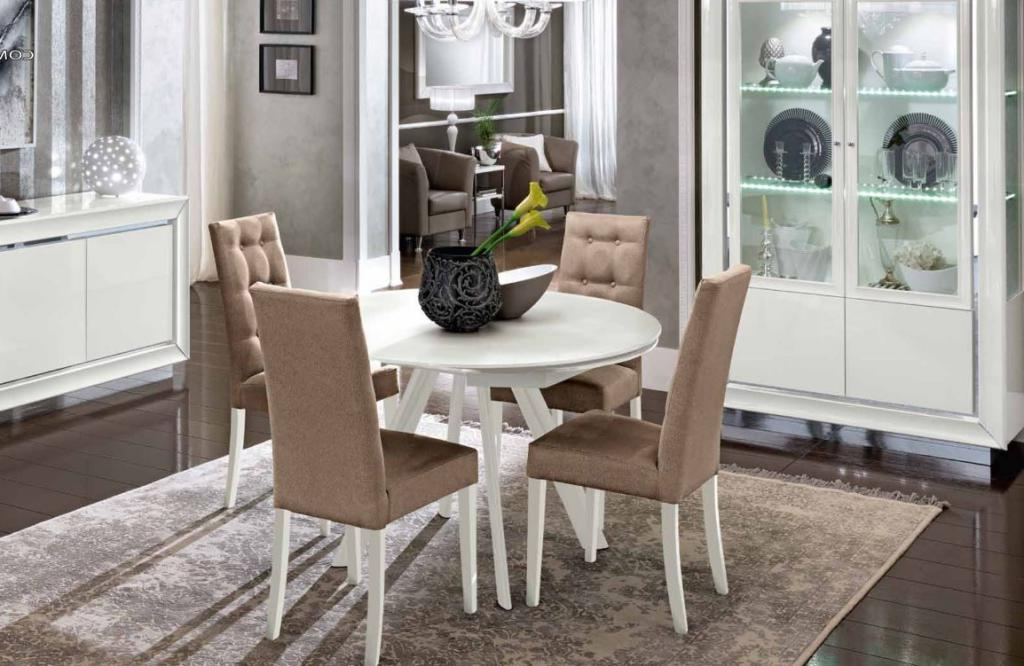 Bianca White High Gloss & Glass Round Extending Dining Table 1.2  (View 2 of 20)