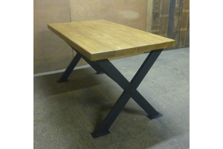 Big X Industrial Style Dining Table (Gallery 17 of 20)