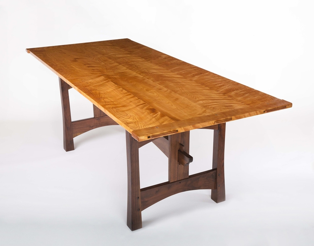 Birch Dining Tables With Most Up To Date Flamed Birch & Walnut Dining Table — Lohr Woodworking Studio (View 7 of 20)