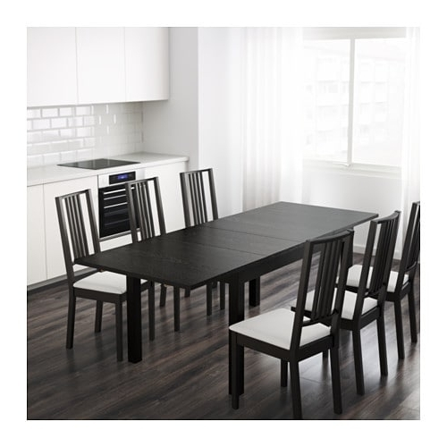 Bjursta Extendable Table Brown Black 140/180/220 X 84 Cm – Ikea For 2018 Black Extendable Dining Tables And Chairs (View 2 of 20)