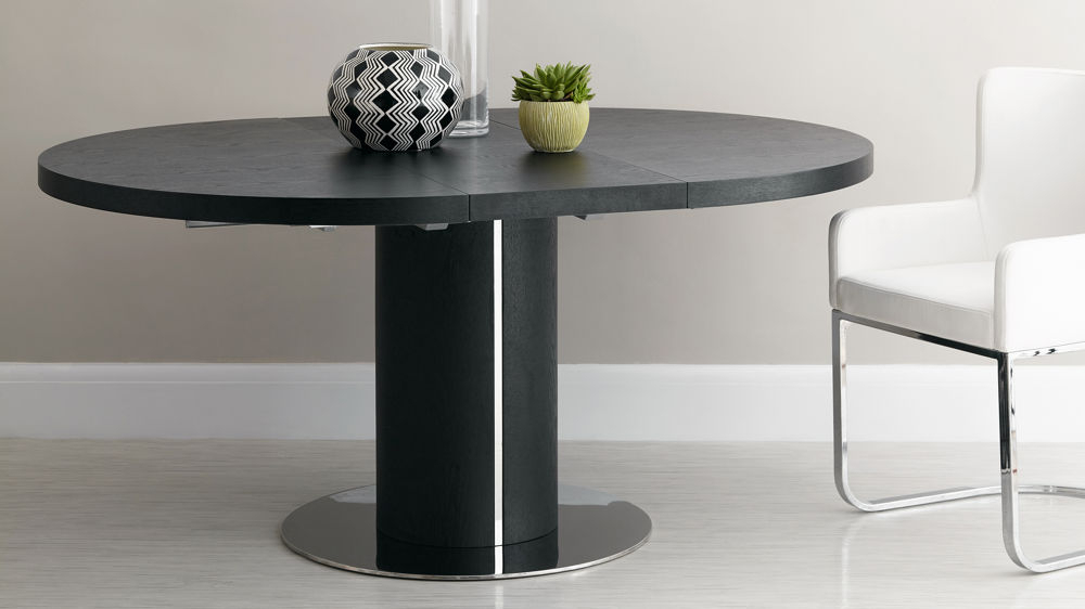 Black Ash Round Extending Dining Table (Gallery 3 of 20)
