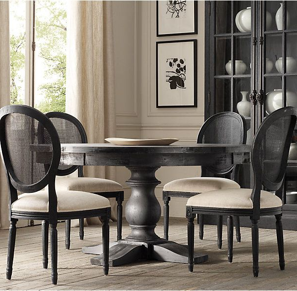 Black Chair With Linen Colored Seat. I Would Suggest Keeping The Inside Newest Helms 5 Piece Round Dining Sets With Side Chairs (Gallery 10 of 20)