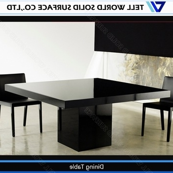 Black Chairs White Artificial Stone Table Modern 8 Seater Dining Regarding Favorite Black 8 Seater Dining Tables (View 6 of 20)