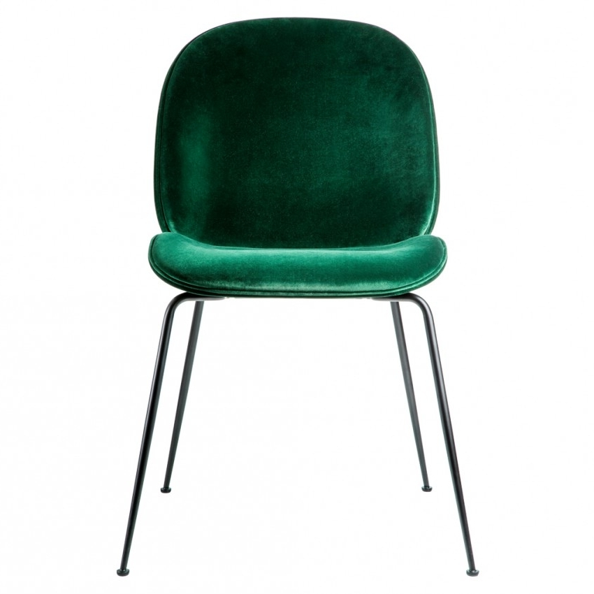 Black Dining Chairs Intended For Most Recently Released Beetle Dining Chair Green Velvet With Black Legs – The Conran Shop (View 4 of 20)