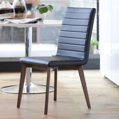 Black Dining Chairs Regarding Most Current Parquet Dining Chair Faux Leather Black – Dwell (View 5 of 20)