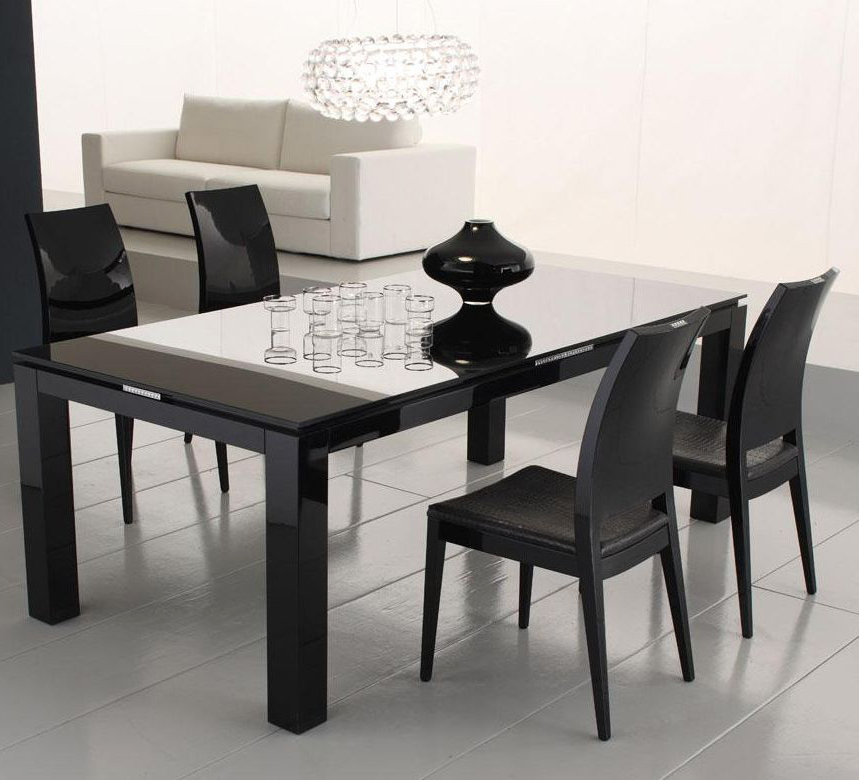 Black Dining Table 4 Chair : Ugarelay – Black Dining Table Furniture In 2017 Square Black Glass Dining Tables (View 15 of 20)