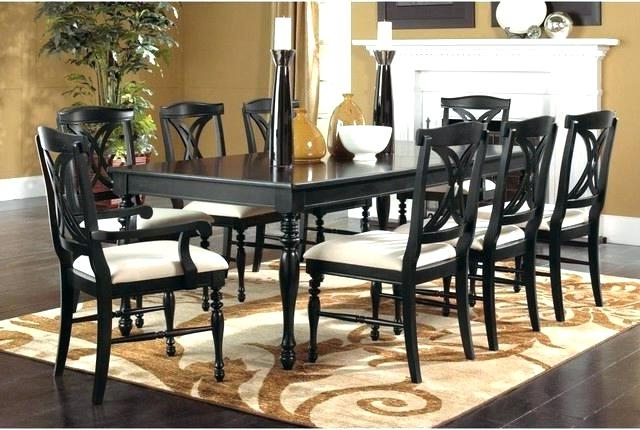 Black Dining Table 8 Chairs Seater Dark Wood And Glass Set Modern Intended For Current Dining Tables 8 Chairs Set (View 5 of 20)
