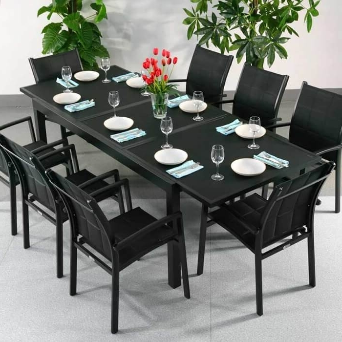 Black Extendable Dining Tables Sets Inside Trendy Dining Table Set Florence Black – 8 Person Aluminium & Glass (View 2 of 20)
