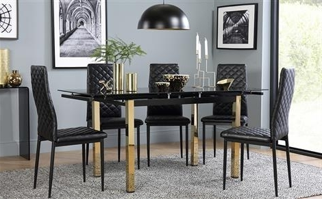 Black Extendable Dining Tables Sets With Most Recent Extendable Dining Table & Chairs – Extending Dining Sets (View 14 of 20)
