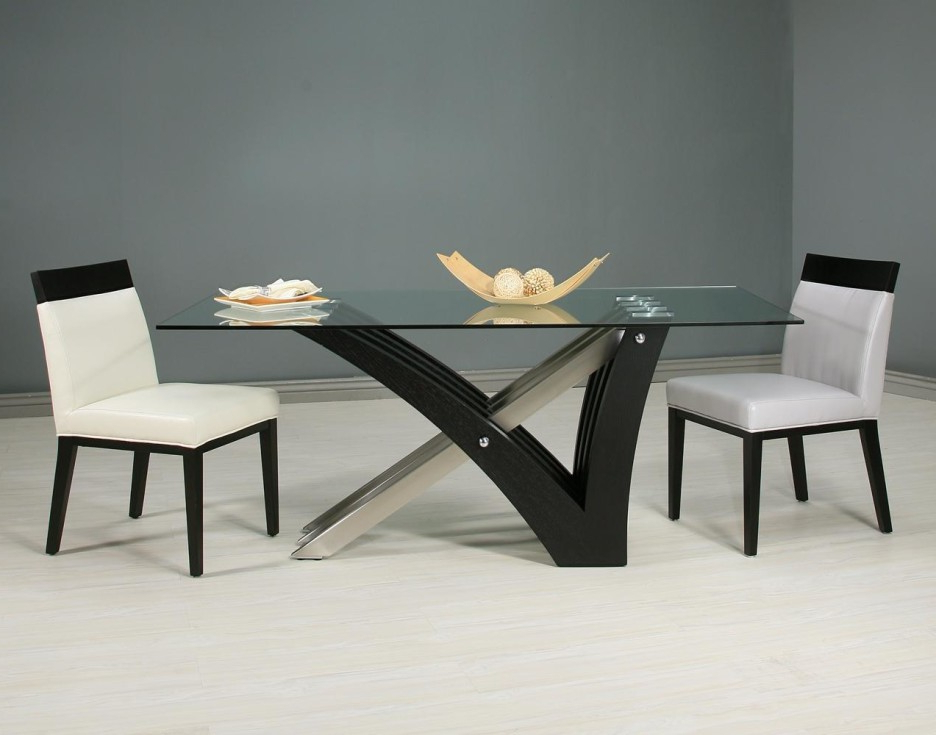 Black Fiberglass Mixed Steel Legs Dining Table With Rectangle Clear In 2017 Glass Dining Tables With Wooden Legs (View 14 of 20)