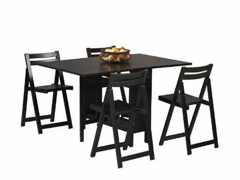 Black Folding Dining Tables And Chairs Regarding Fashionable Folding Table And Chair Set Black — Inspire Furniture Ideas (Gallery 2 of 20)