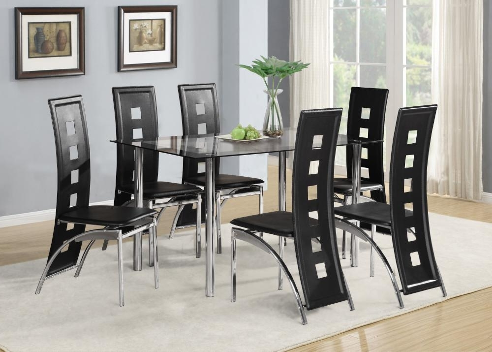 Black Glass Dining Room Table Set And With 4 Or 6 Faux Leather For Well Known 6 Chair Dining Table Sets (View 5 of 20)